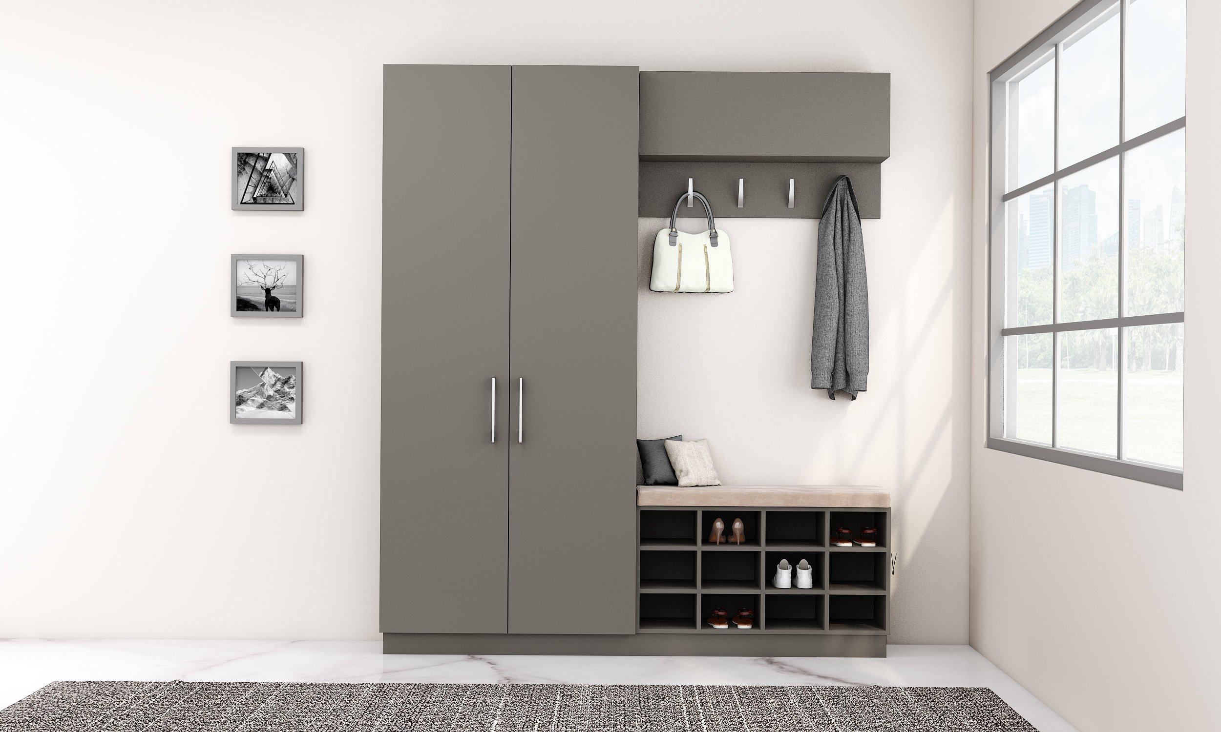 Hallway Storage in Onxy Grey With Coat Hanger
