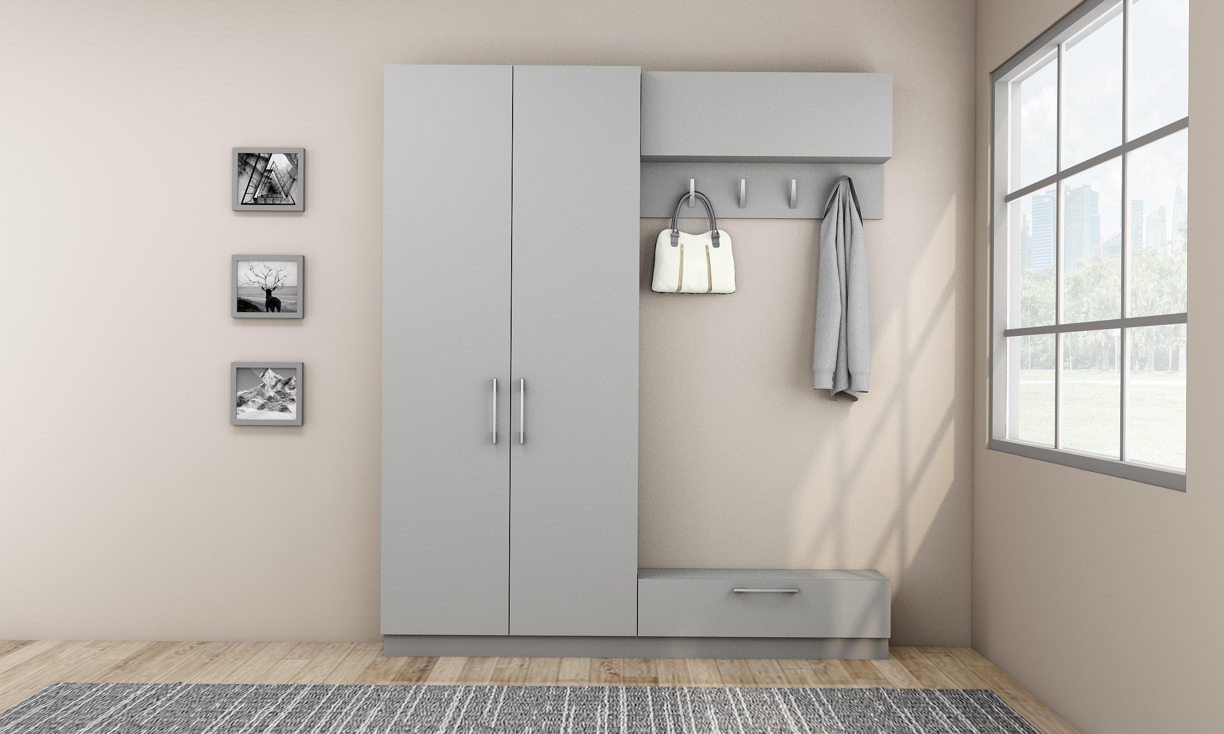 Hallway storage in silver grey with coat hanger
