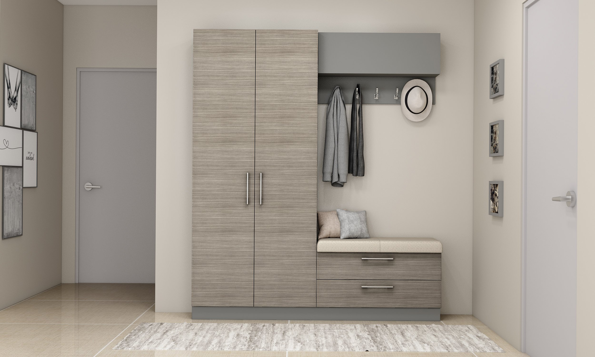 Hallway storage units with coat hanger in woodgrain and dust grey finish