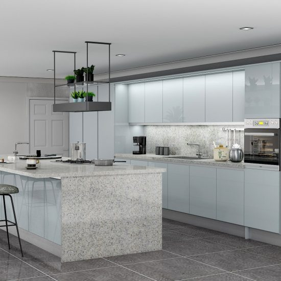Handlless Kitchen in Light grey gloss finish_LED Lights (1)