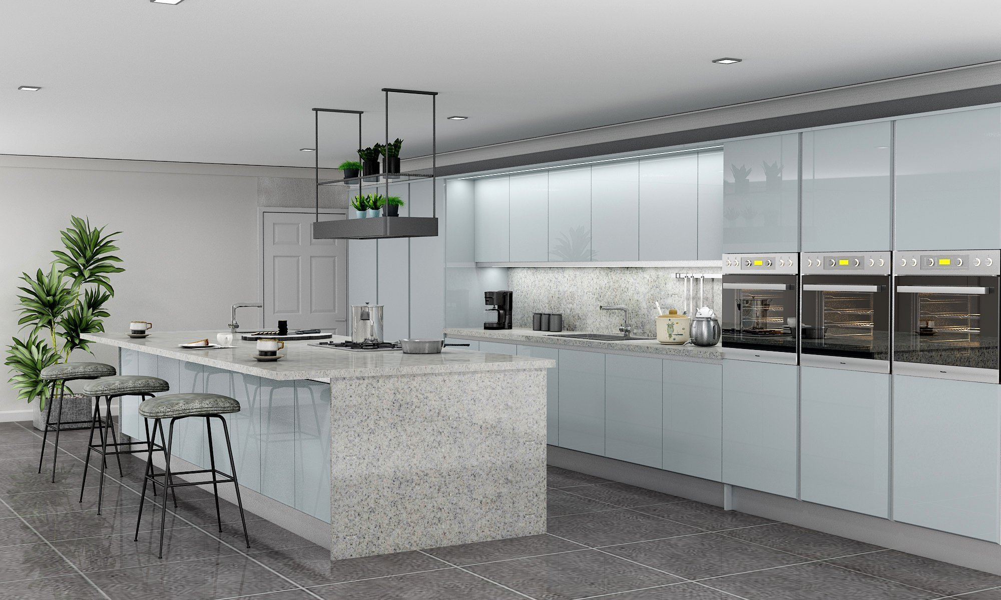 Light Cool Grey Gloss Fitted Island Kitchen