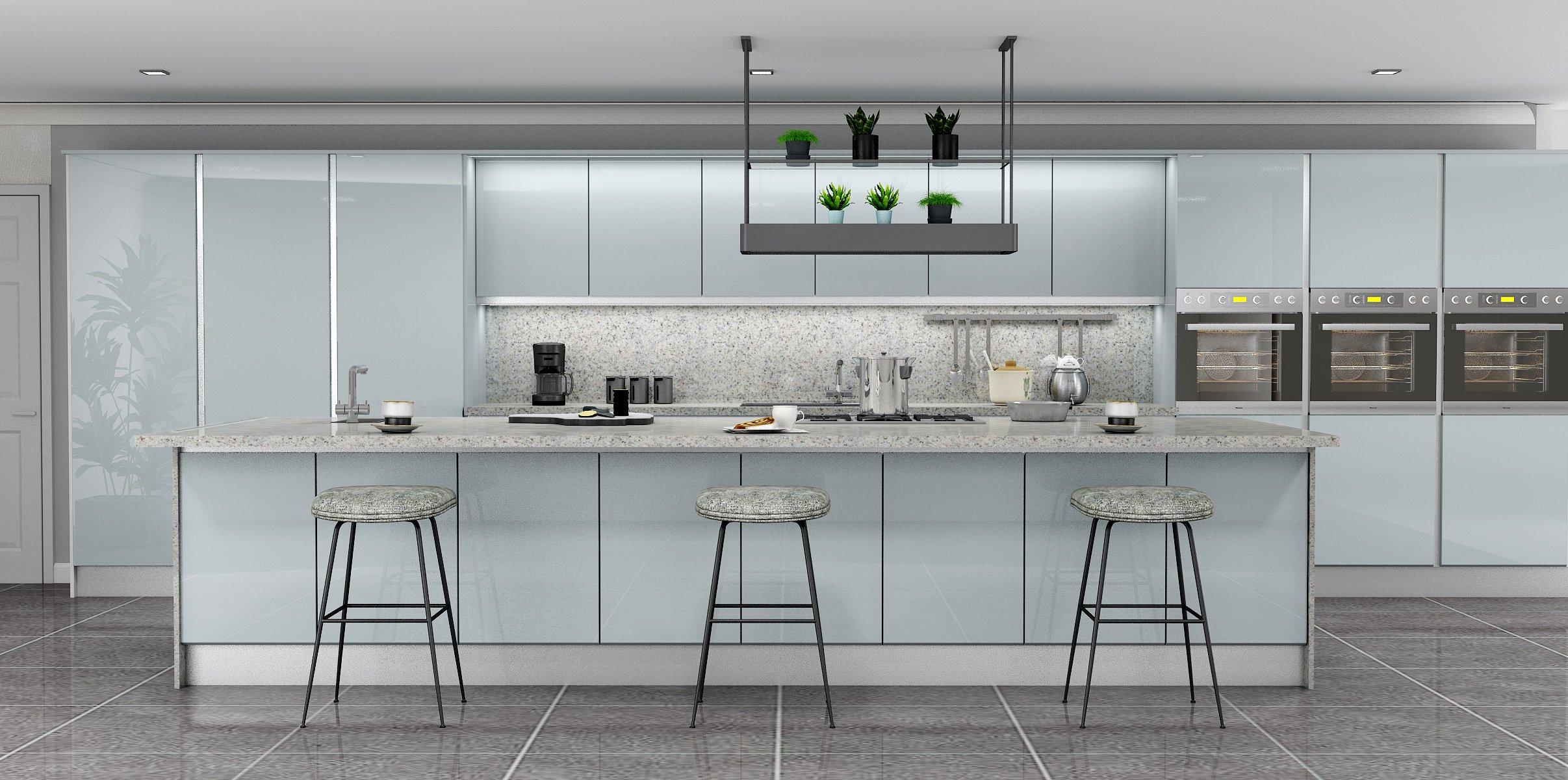 Handlless Kitchen in Light grey gloss finish LED Lights