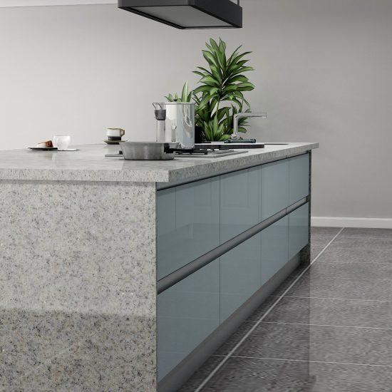 Handleless Kitchen in Light Grey Gloss Finish Led Lights