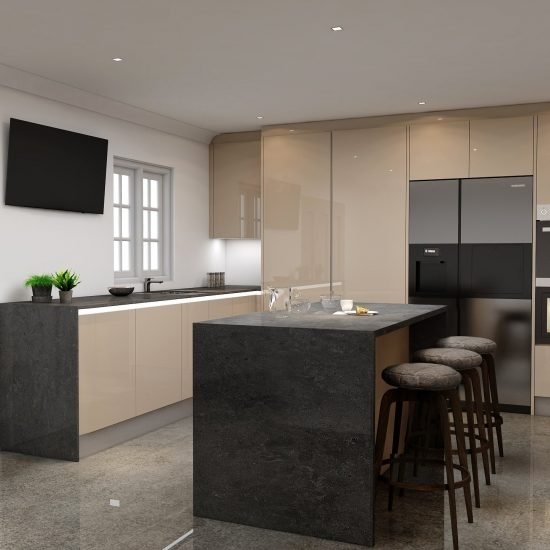 Handlless Kitchen in cashmere gloss finish with LED lights (1)