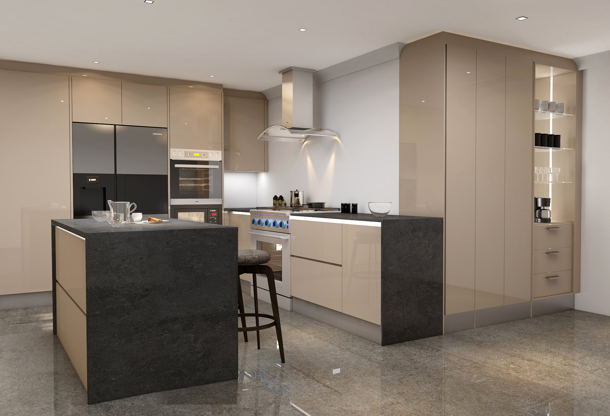 Handlless Kitchen in cashmere gloss finish with LED lights (2)