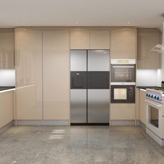 Handleless Kitchen in Cashmere Gloss Finish With Led Lights