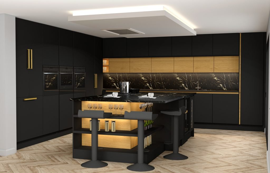 Handlless Kitchen withisland in black matt and woodgrain finish gold handleprofile (1)