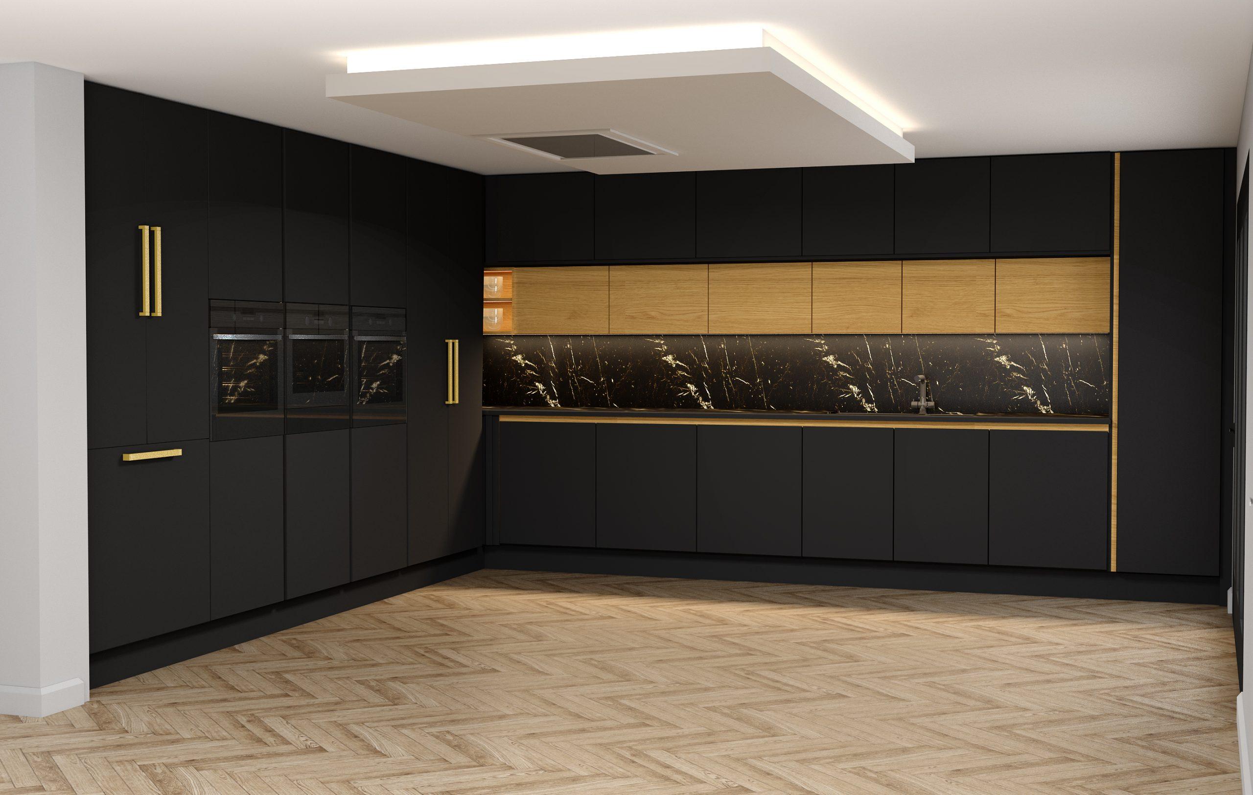 Handlless Kitchen withisland in black matt and woodgrain finish gold handleprofile_1 (1)