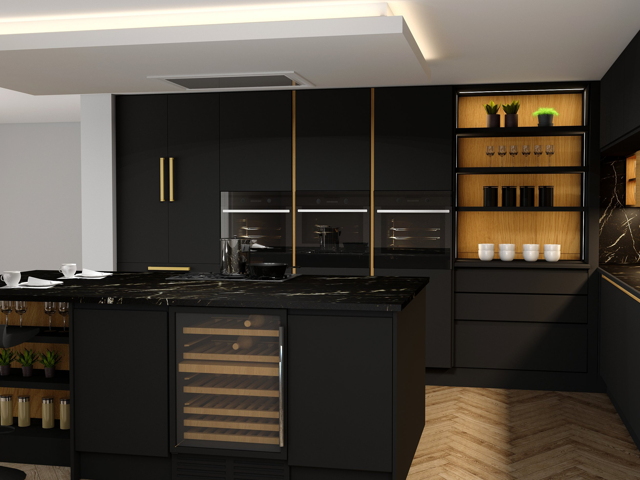 Handleless Kitchen with island in black matt and woodgrain finish