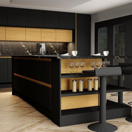 Handlless Kitchen withisland in black matt and woodgrain finish gold handleprofile_3 (1)