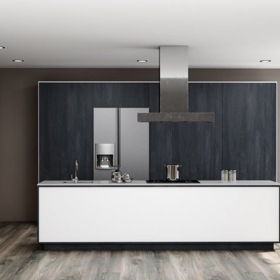 Modern Kitchen in Charcoal Flow and Alpine White With Pocket Door System