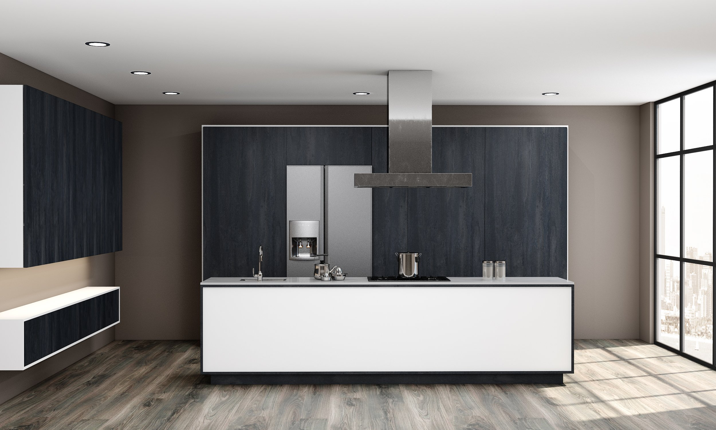 Kitchen With Pocket Doors in Charcoal Black Finish