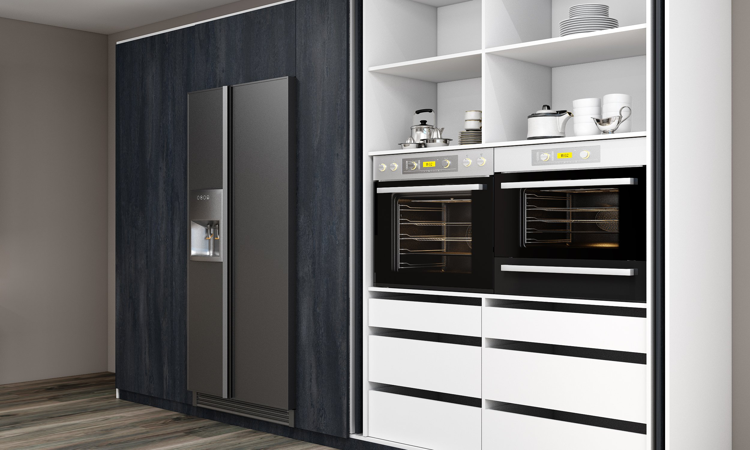 Modern Kitchen Chacrcoal Flow Alpine Whie