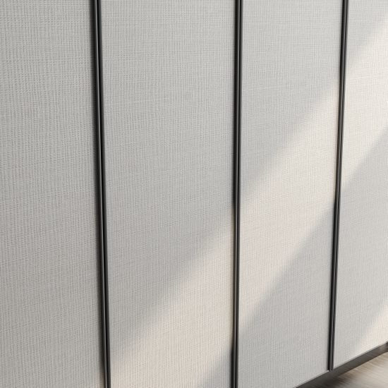 Linear wood fitted hinged wardrobe with aluminium handle profile in Scarf textured finish