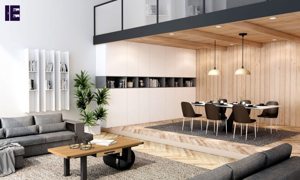 Living and Dining Space Storage in Matt Finish in Combination of Graphite and White