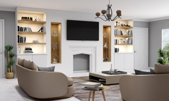 Bespoke Fitted TV unit with storage and fireplace finished in White Matt and dark woodgrain