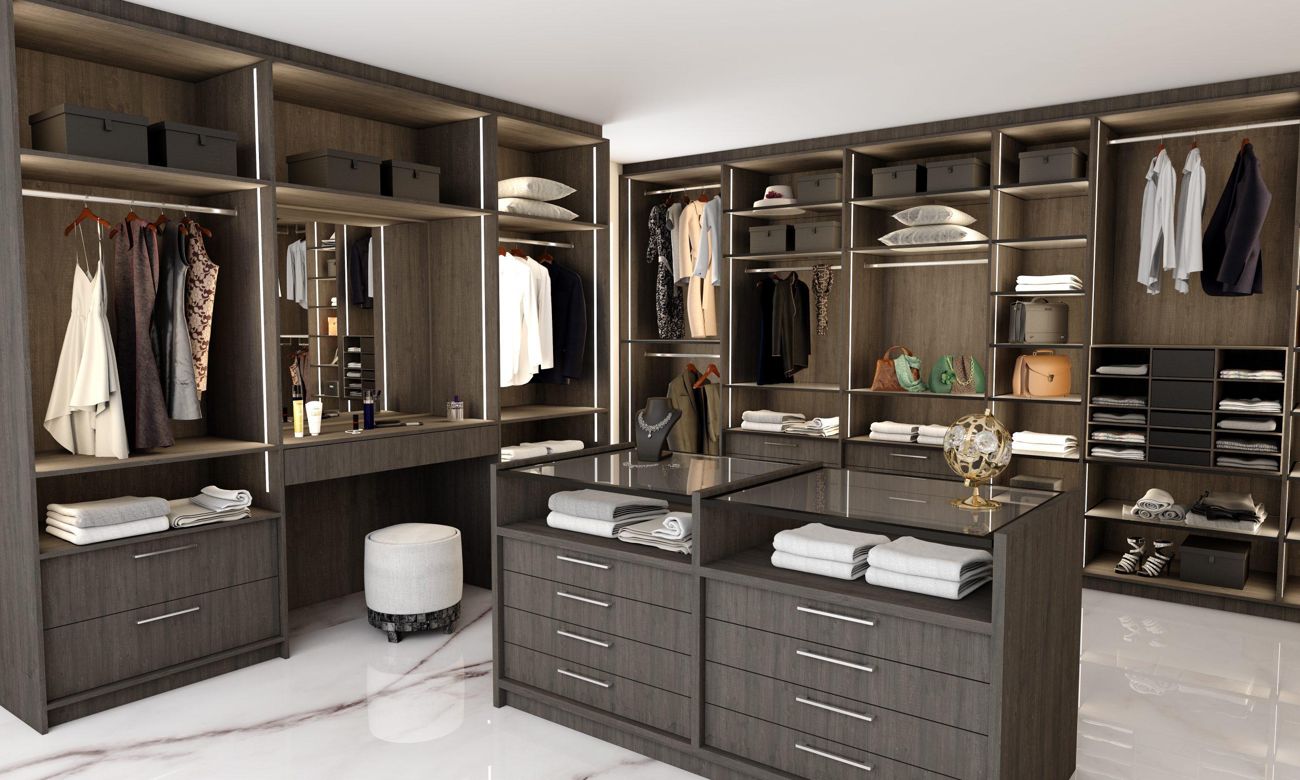 Modern Walk-in Fitted Wardrobe in Dark Walnut Finish With Island and Dresser