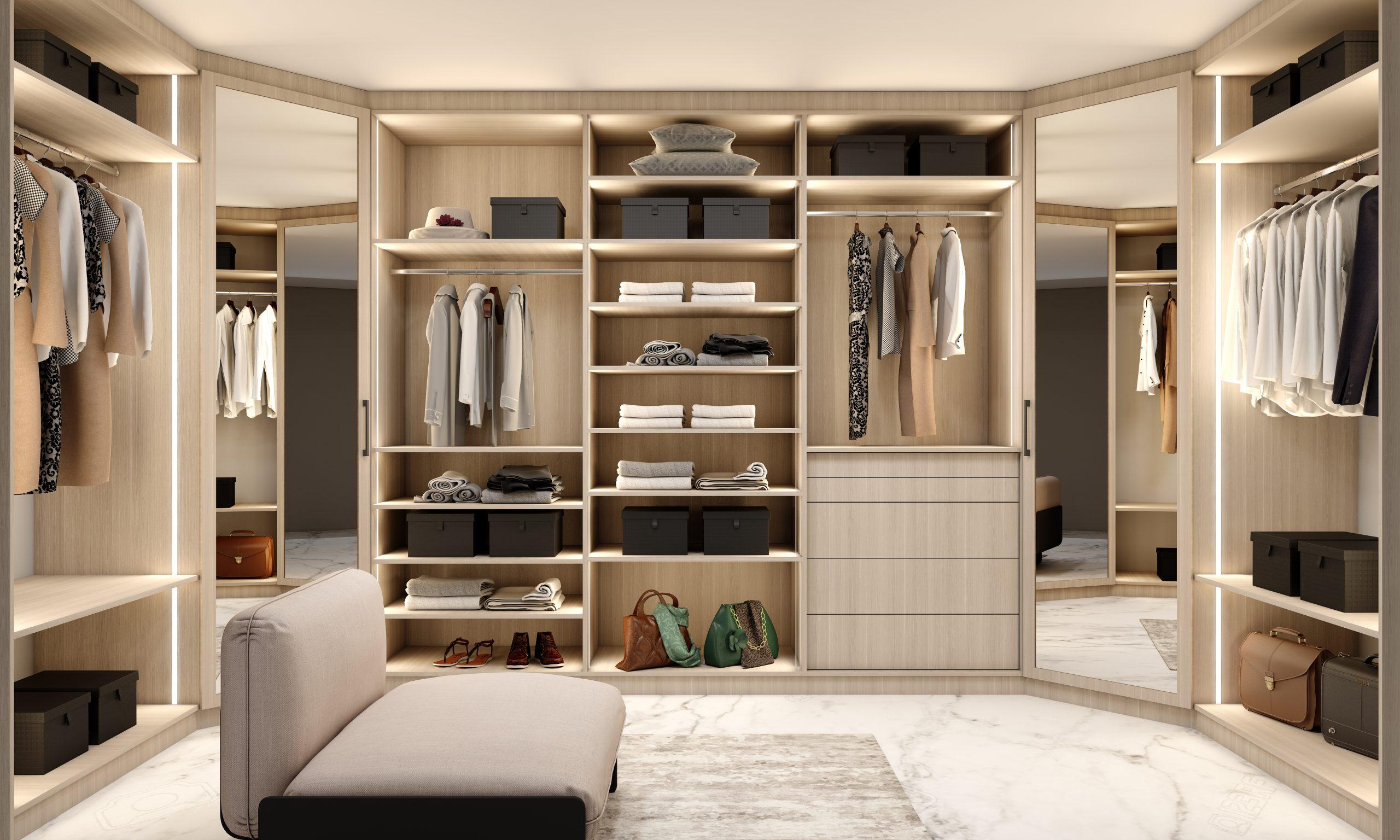 Modern walk-in fitted wardrobe in sab oak finishle light woodgrain finish with framed mirror corner wardrobe