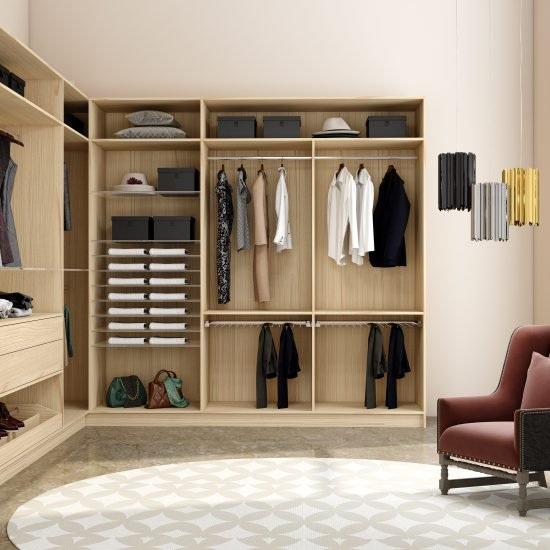 Modern walk-in wardrobe in light woodgrain finish