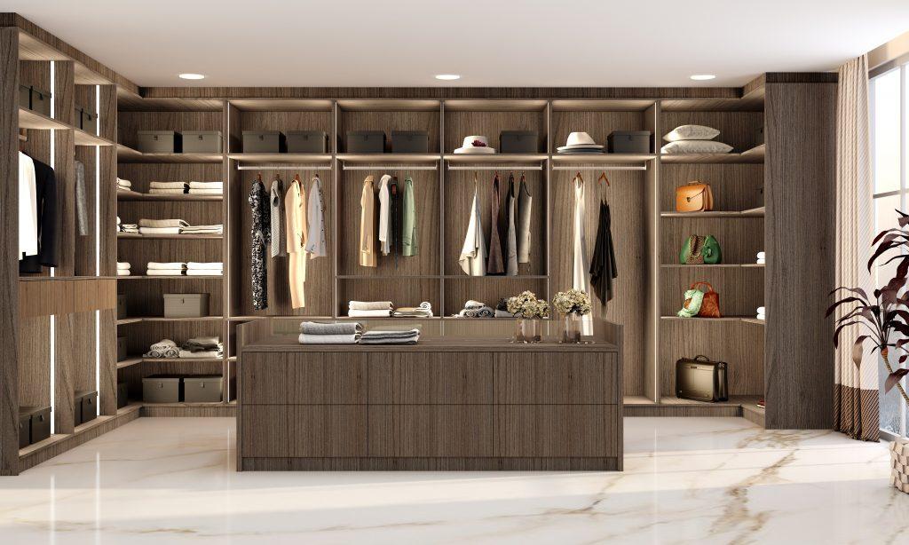 Modern walk-in wardrobe in Dark woodgrain finish