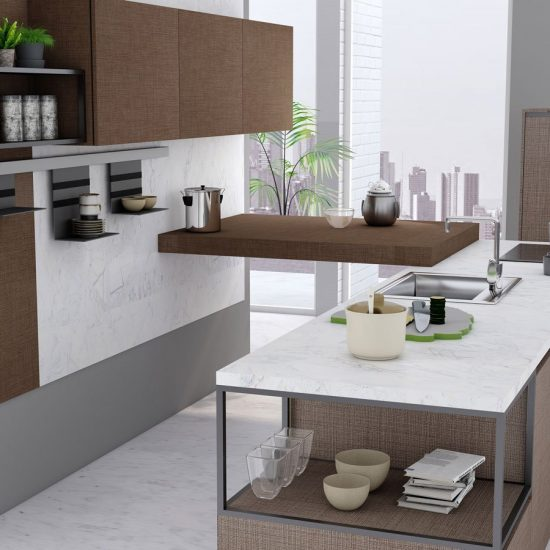 Premiumline kitchen with Aluminium handleless profile along with island in Cannella and Penelop textured finish (1)