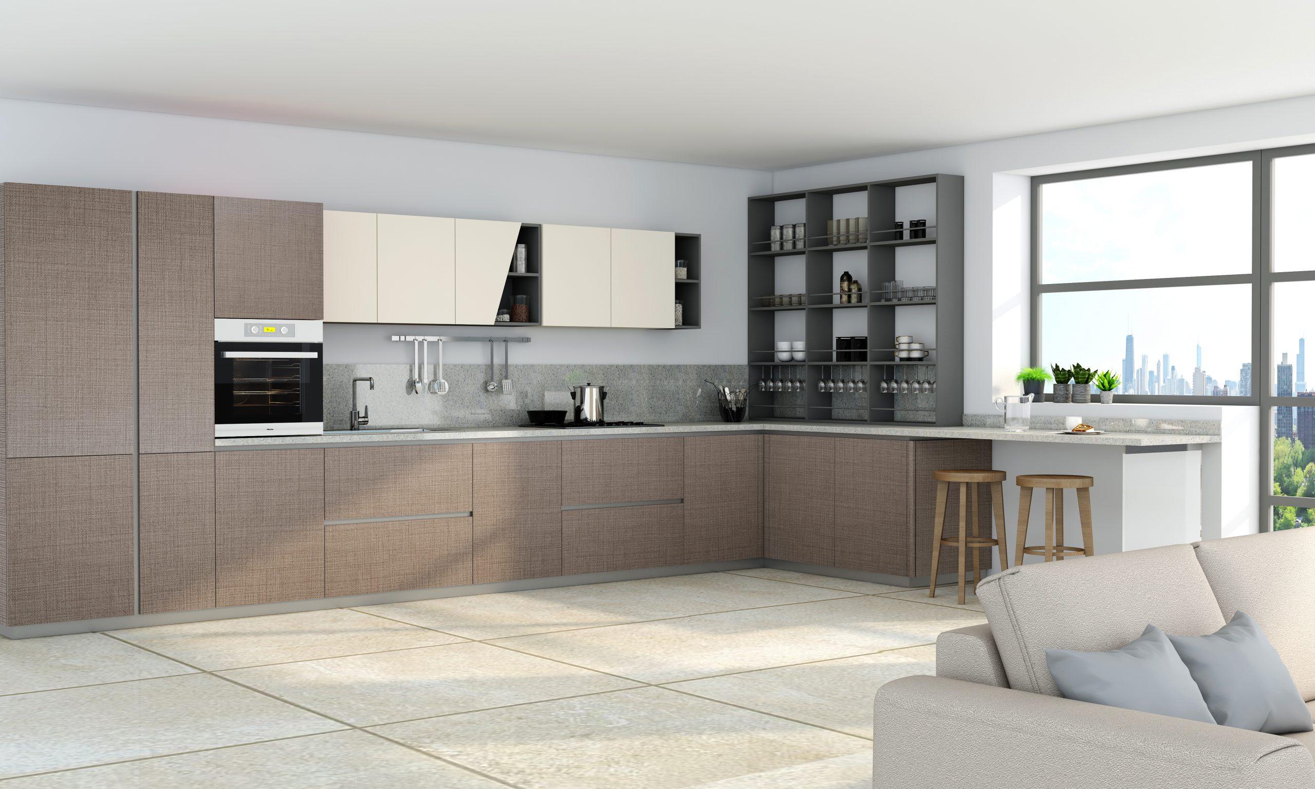 Premiumline Kitchen With Aluminium Handleless Profile in Cannella Textured Penelop and Cream Matt Finish