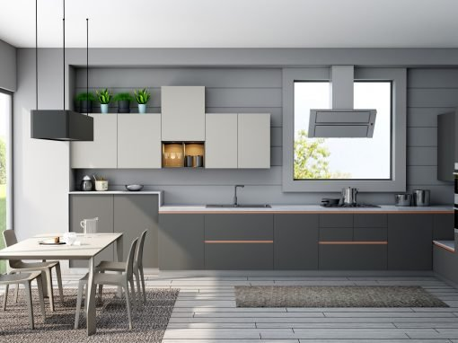 Modern Kitchen with Alpine White and Dusty Grey Finish
