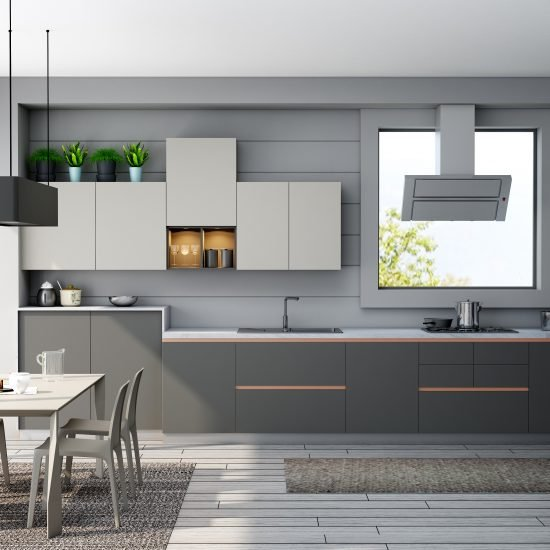 Premiumline Kitchen With Brass Handleless Profile in Dust Grey Matt and Alpine White Finish