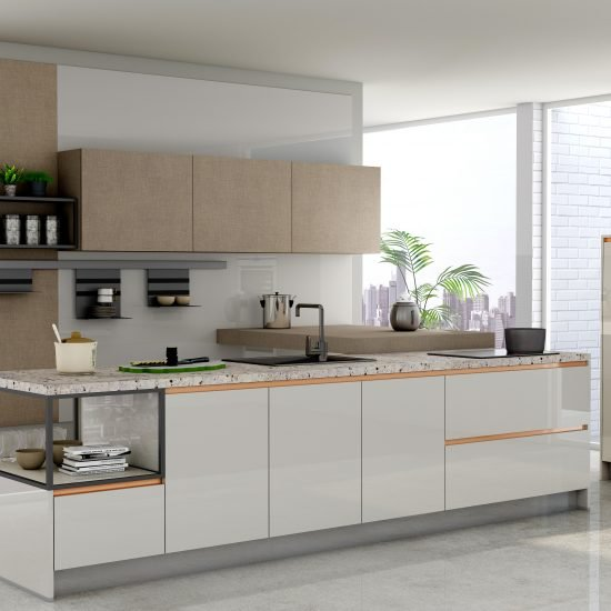 Premiumline Kitchen With Brass Handleless Profile in Textured Penelope and Light Grey Acrylic Finish