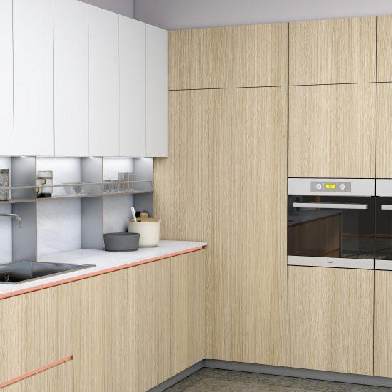 Premiumline kitchen with Brass handleless profile in woodgrain and Alpine white finish (1)