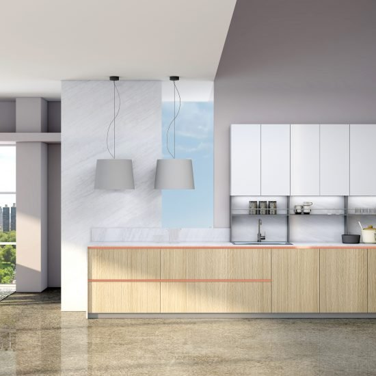 Premiumline Kitchen With Brass Handleless Profile in Woodgrain and Alpine White Finish