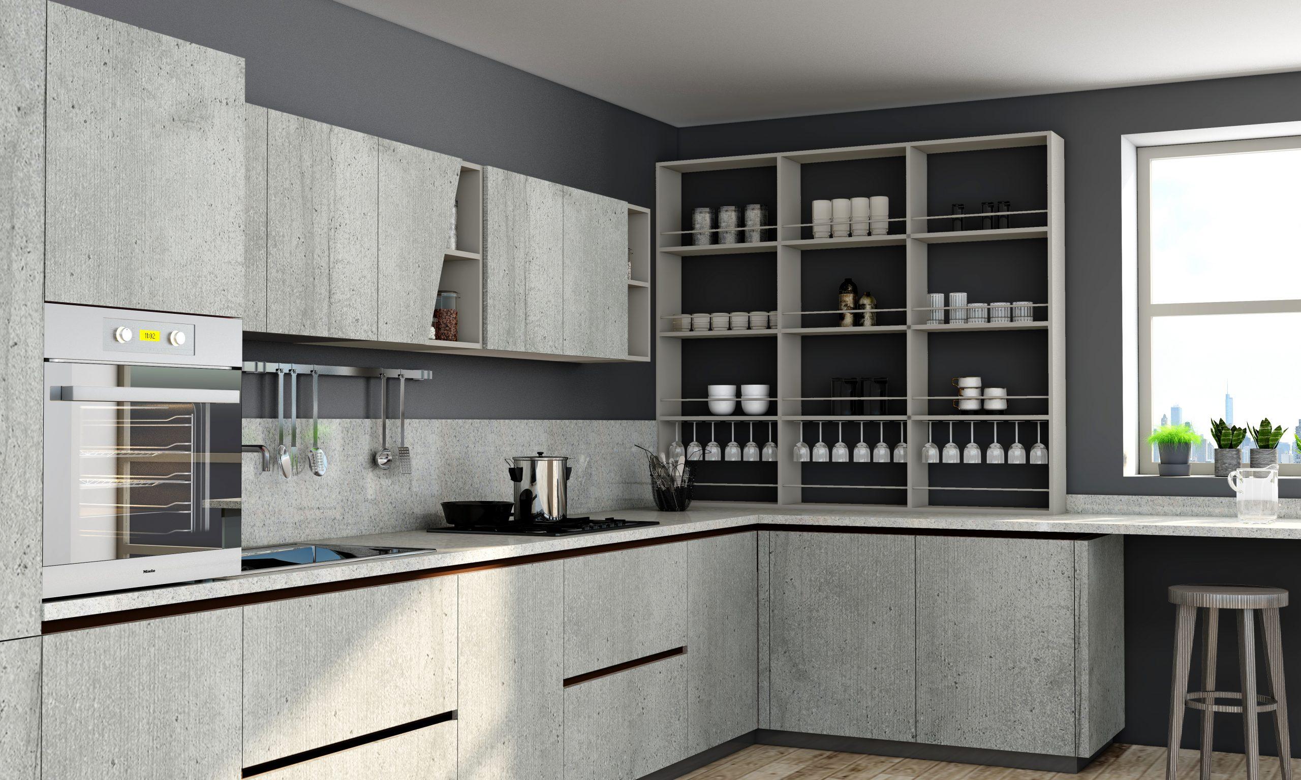 Premiumline kitchen with black handleless profile in Boston concrete finish (2)