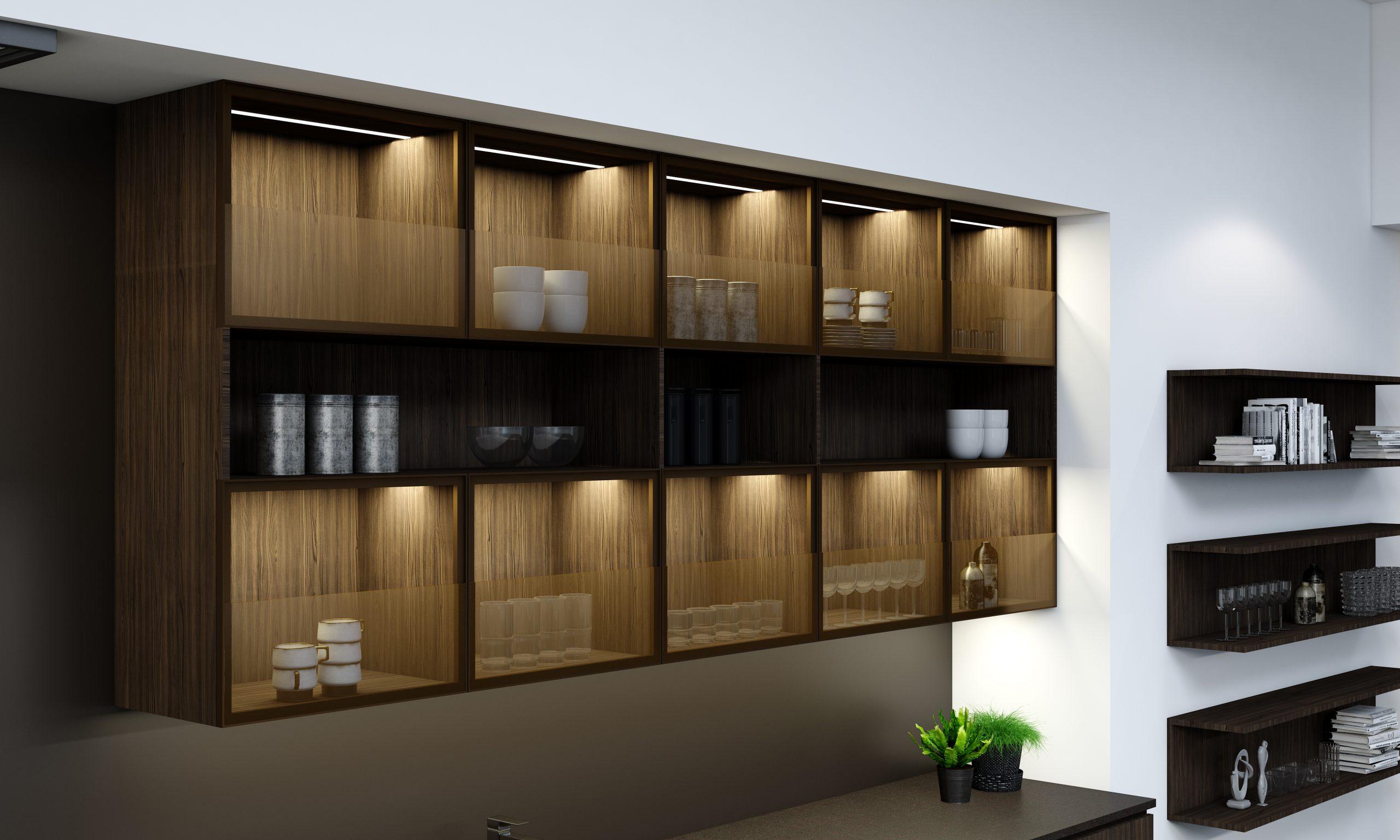 Premiumline Kitchen With Black Handleless Profile in Bronze Oak Woodgrain and Khaki Grey Matt Finish