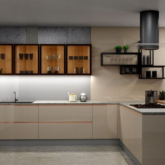 Premiumline Kitchen With Brass Handleless Profile in Cashmere Gloss Finish