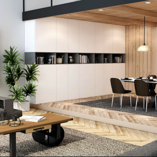 Gloss Living/Dining space storage in Matt finish in combination of Graphite and White