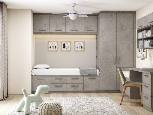 Small Bedroom Storage in Concrete Finish