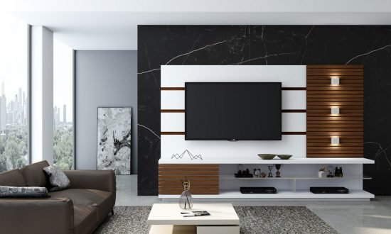 Tv Unit With Storage in Back Panel, Open Shelves and Wood Rails in Combination of White and Lincoln Walnut