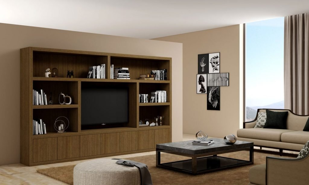 Wooden Tv Unit With Storage in Open Units and Base Units in a Combination of Natural Carini Walnut
