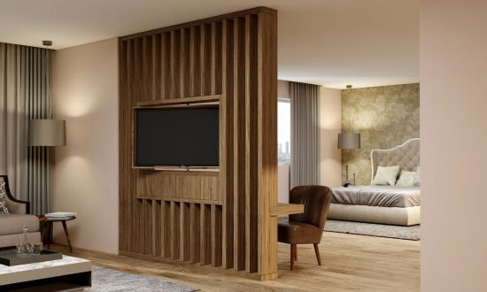 Tv Unit With Open Storage in Decor Wood Rails, Drawers and Rotating Tv Option in Natural Carini Walnut