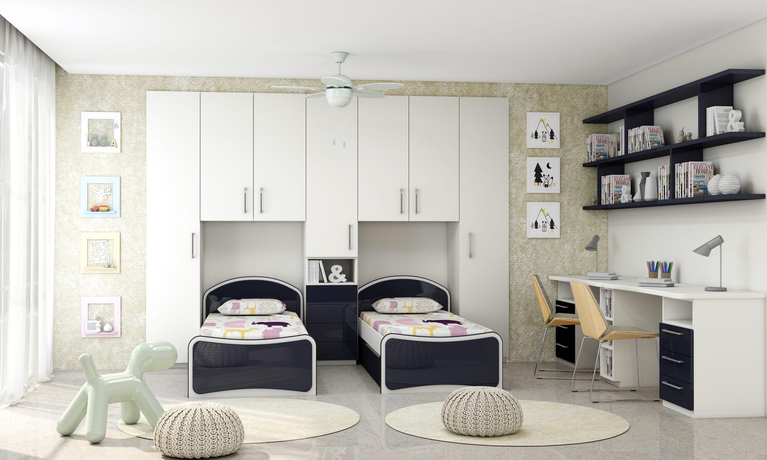 Kids' Bedroom In Indigo Blue Alpine White