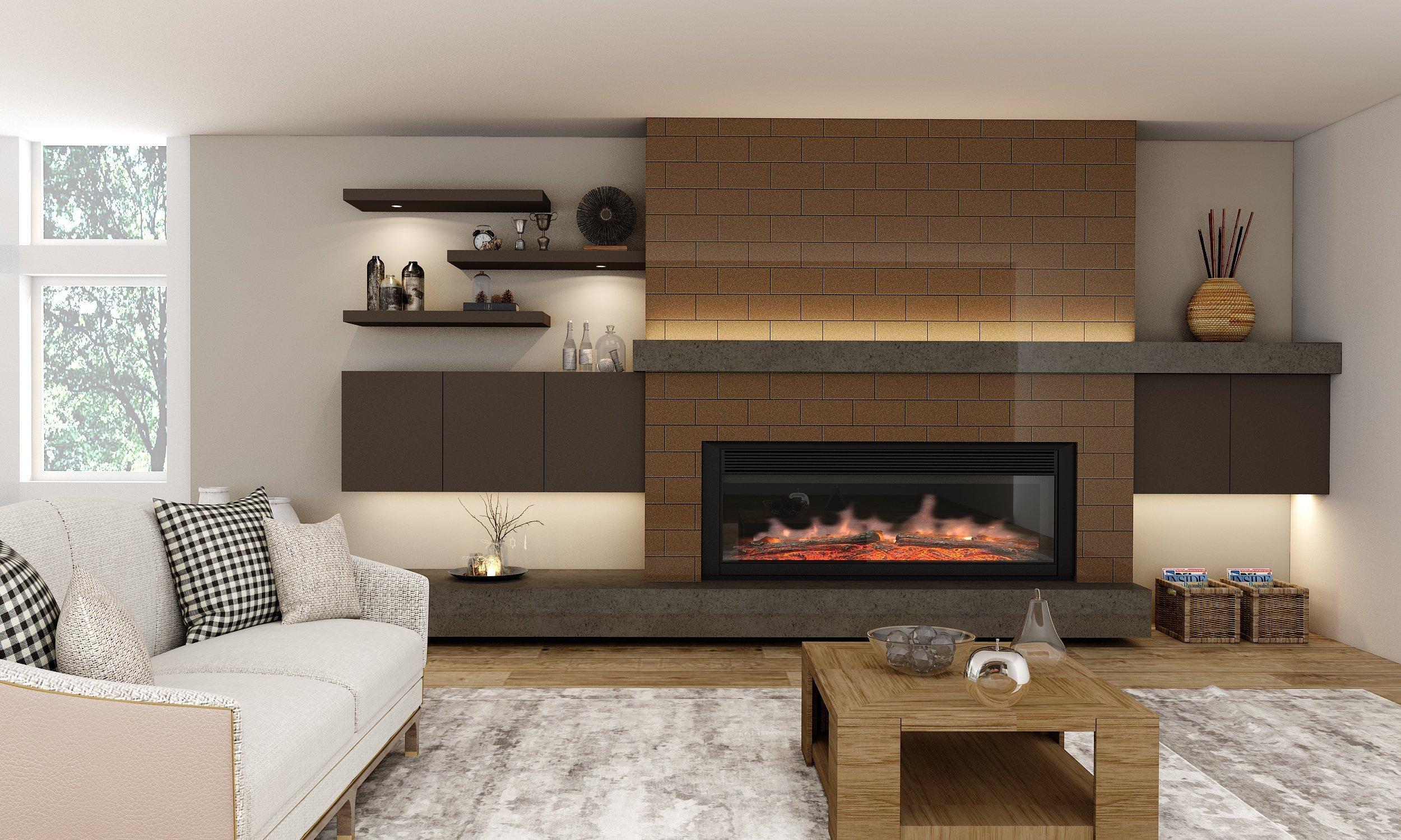 TV unit in matt cream and wood grain finish