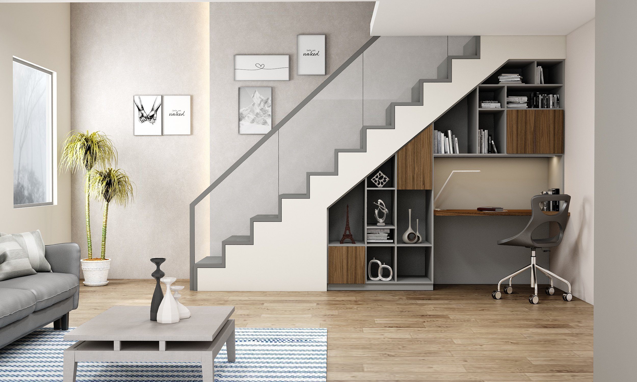 Understairs Fitted Study Area Home Office in Natural Walnut and Silver Grey Finish