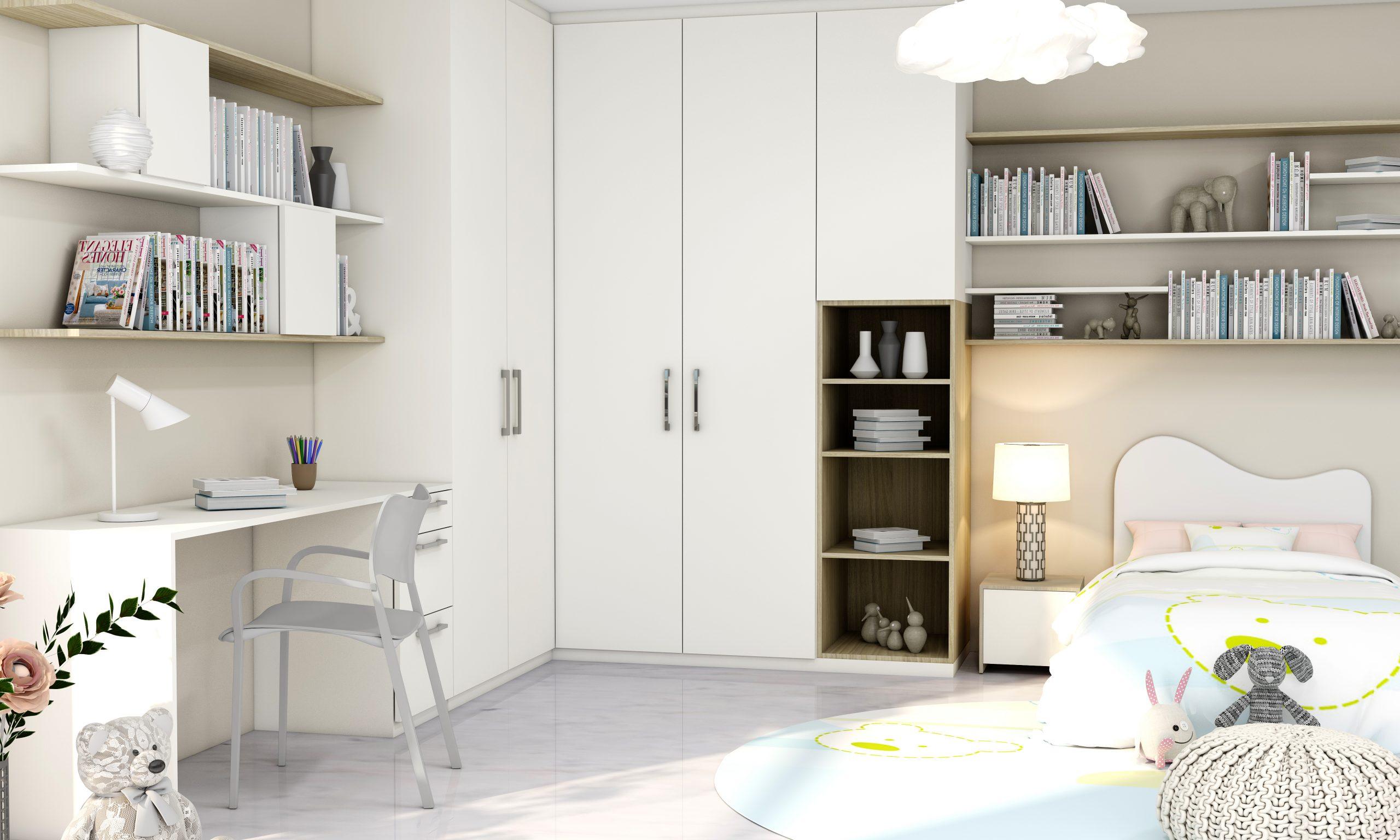 children room hinged corner cupboard with study in white matt and woodgrain finish