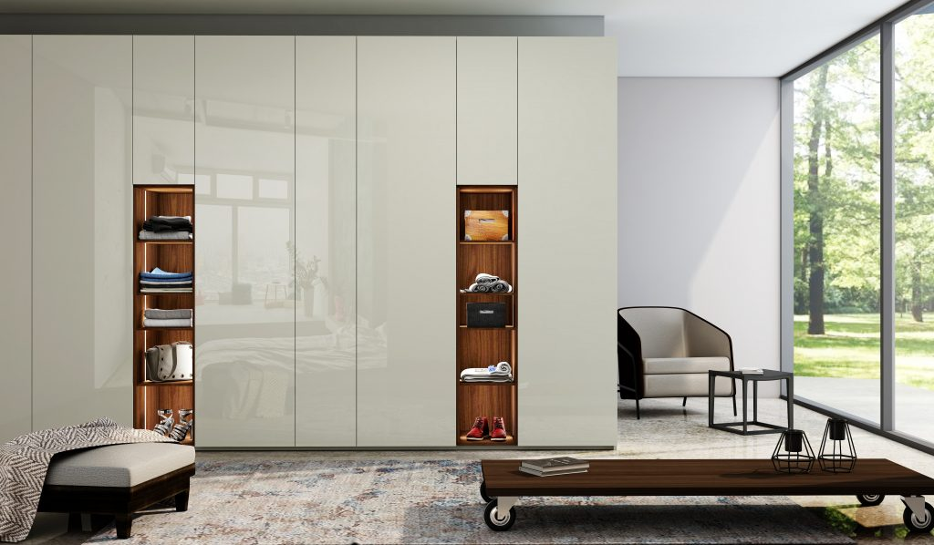 Hinged Wardrobe With Open Shelf in White Levanto Marble High Gloss Finish