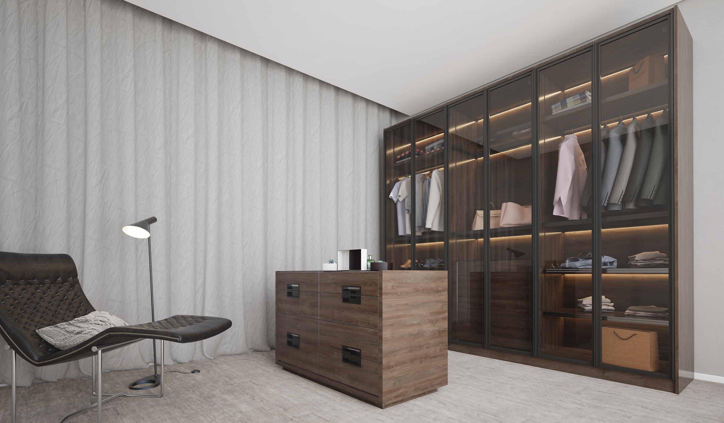 Linear glass wardrobe with island.