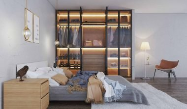 Bedroom with Linear Glass Fitted Wardrobe