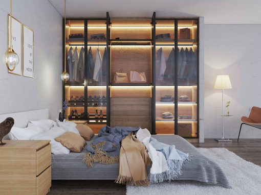 Bohemian Bedroom Glass Sliding Wardrobe