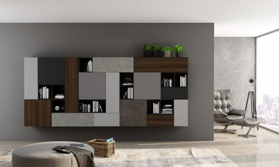 Living Room Unit With Floating Bookcases