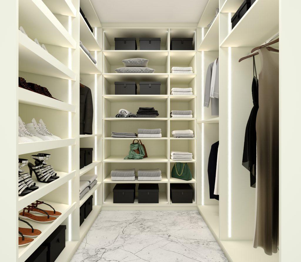 Small Walk-in Wardrobe in Cool White Matt Finish