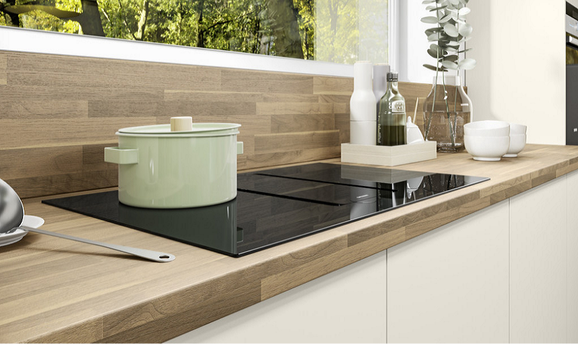 Fitted Kitchen Wooden Worktop with Concrete and Plain black or white